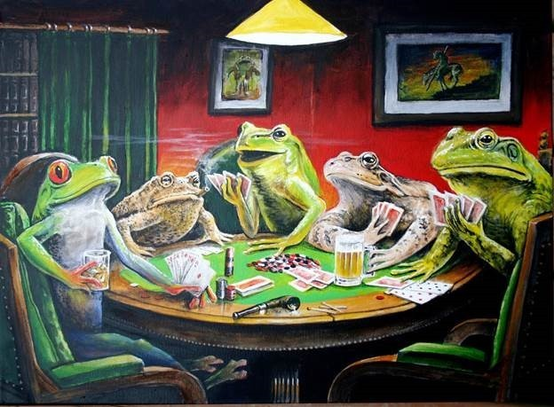 frogs playing poker